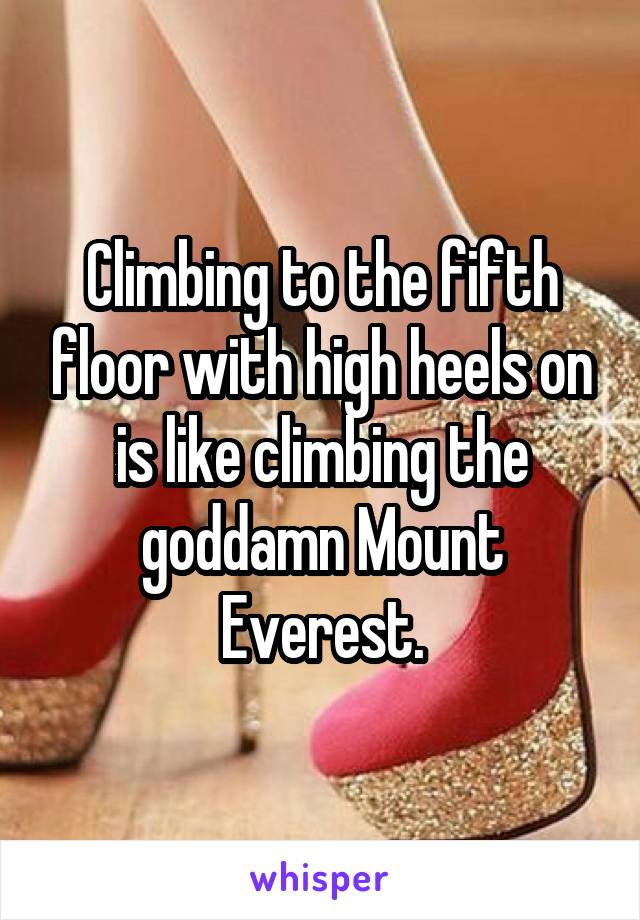 Climbing to the fifth floor with high heels on is like climbing the goddamn Mount Everest.