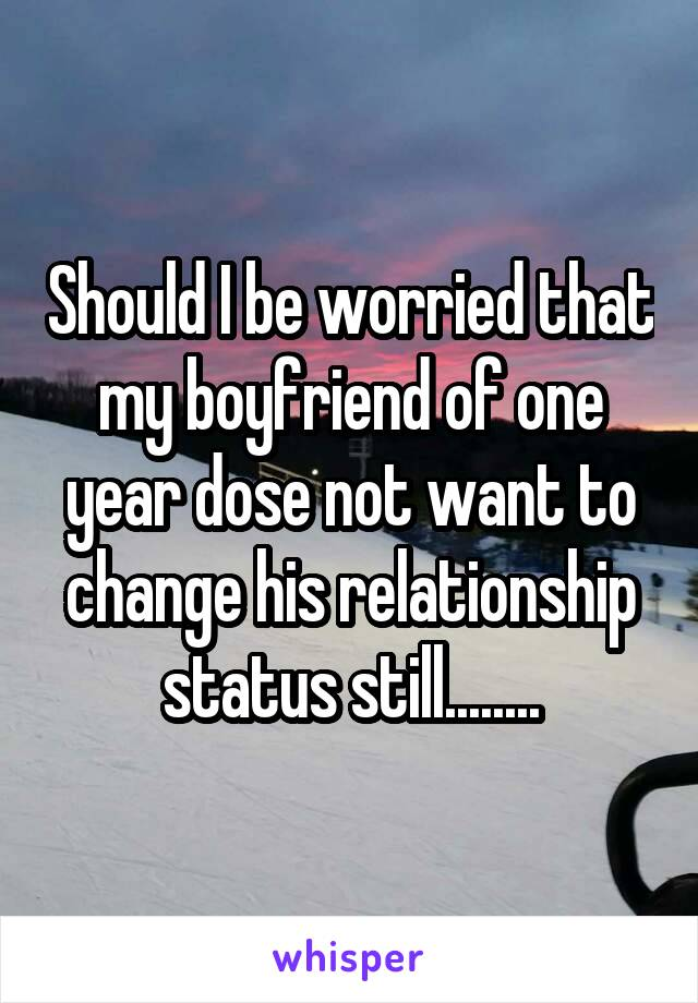 Should I be worried that my boyfriend of one year dose not want to change his relationship status still........