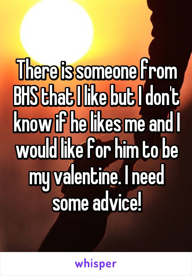 There is someone from BHS that I like but I don't know if he likes me and I would like for him to be my valentine. I need some advice!