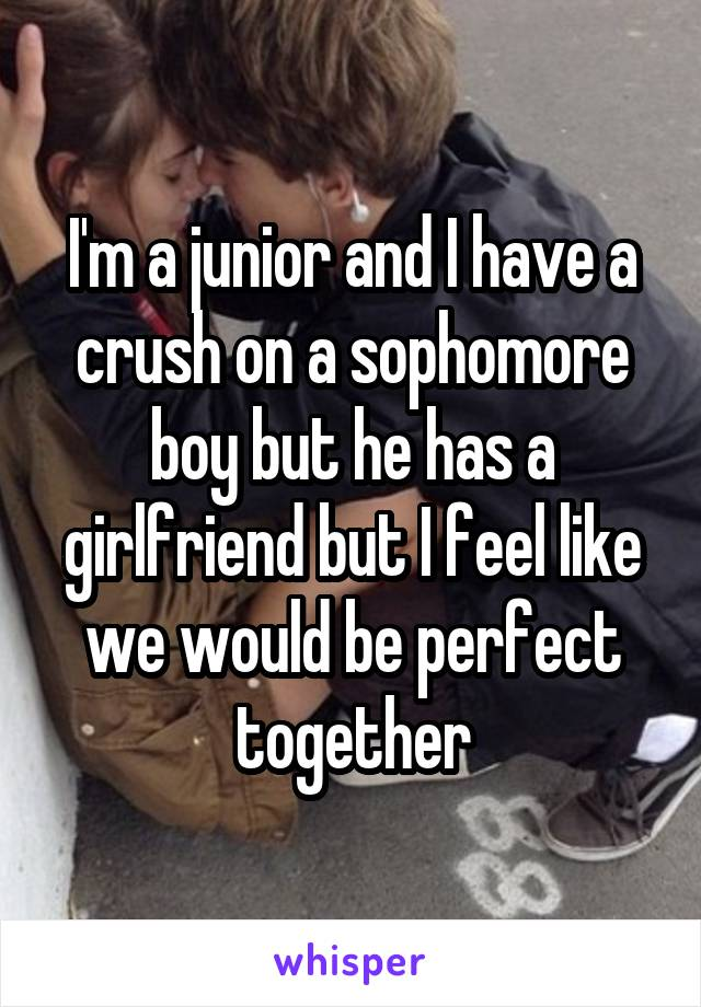 I'm a junior and I have a crush on a sophomore boy but he has a girlfriend but I feel like we would be perfect together
