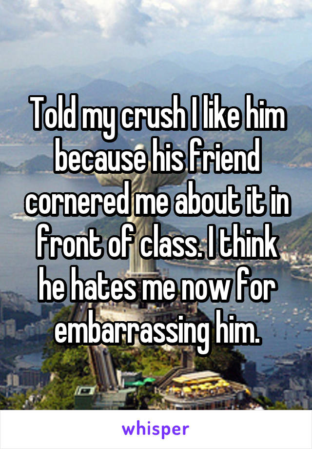 Told my crush I like him because his friend cornered me about it in front of class. I think he hates me now for embarrassing him.