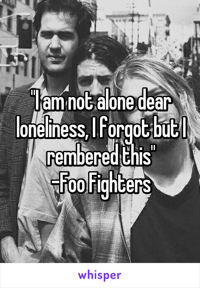 """""""I am not alone dear loneliness, I forgot but I rembered this"""" -Foo Fighters"""
