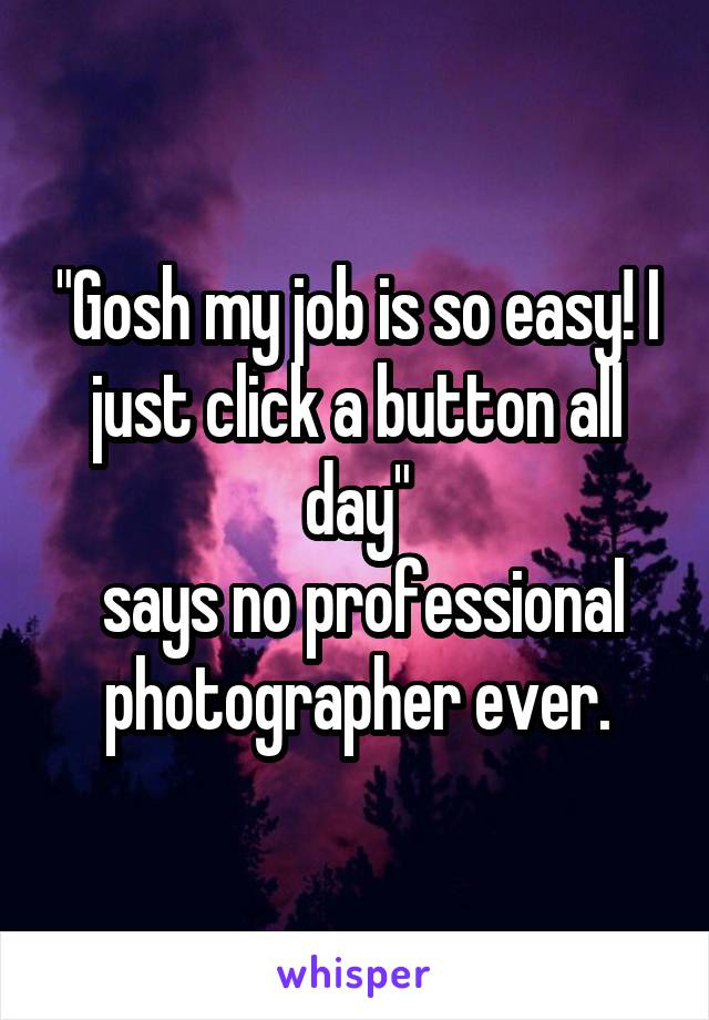 """Gosh my job is so easy! I just click a button all day""  says no professional photographer ever."