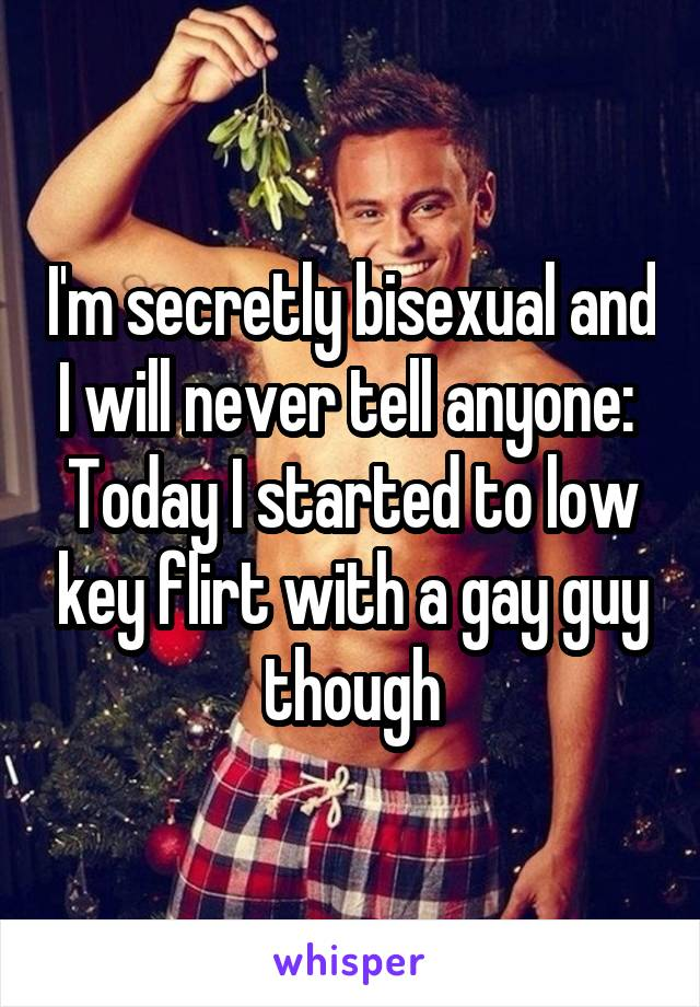 I'm secretly bisexual and I will never tell anyone:  Today I started to low key flirt with a gay guy though