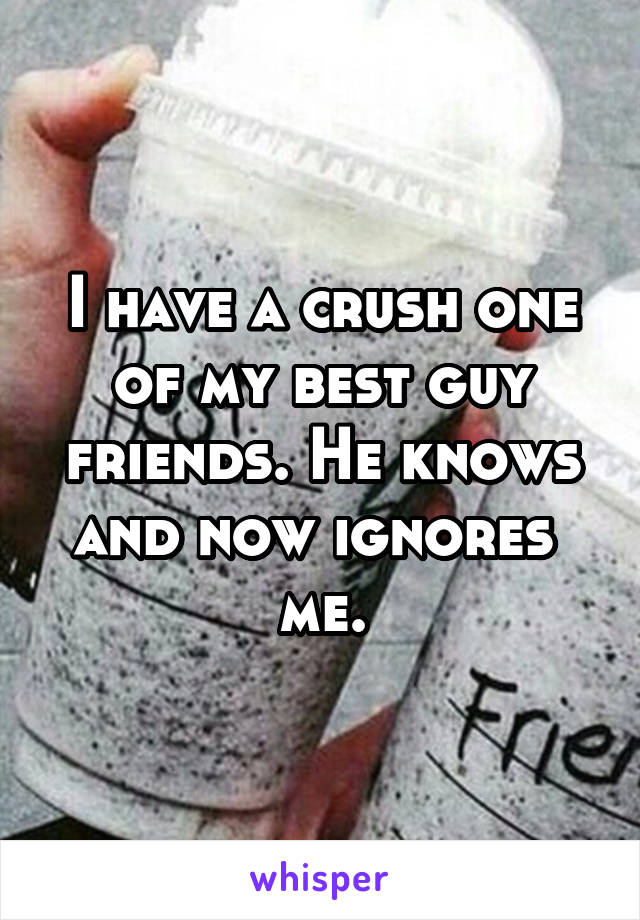 I have a crush one of my best guy friends. He knows and now ignores  me.