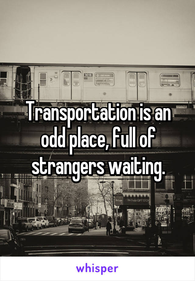 Transportation is an odd place, full of strangers waiting.
