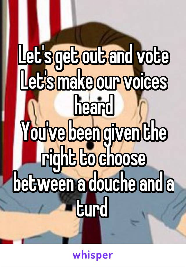 Let's get out and vote Let's make our voices heard You've been given the right to choose between a douche and a turd