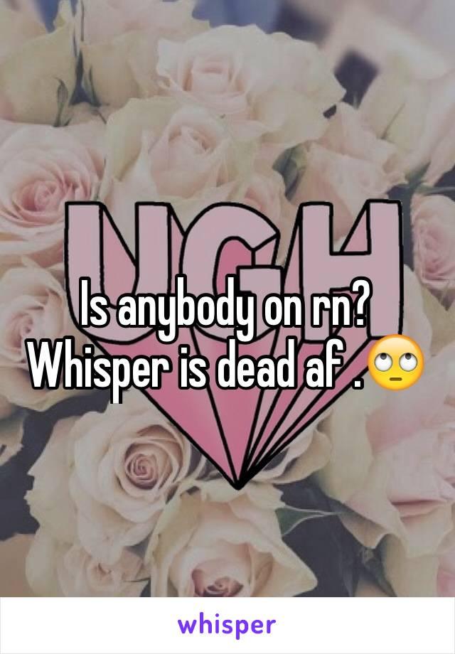 Is anybody on rn? Whisper is dead af .🙄