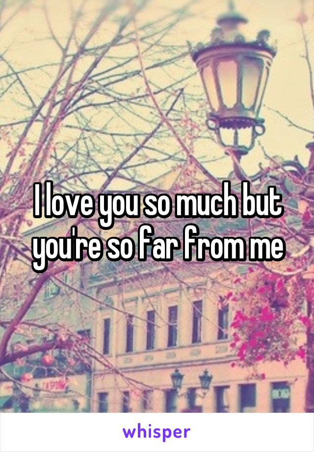 I love you so much but you're so far from me