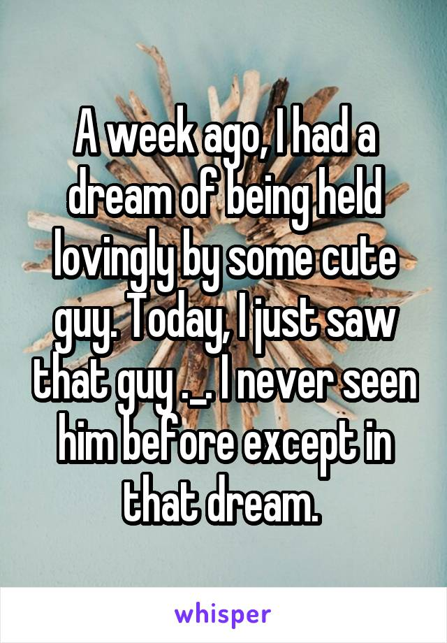 A week ago, I had a dream of being held lovingly by some cute guy. Today, I just saw that guy ._. I never seen him before except in that dream.