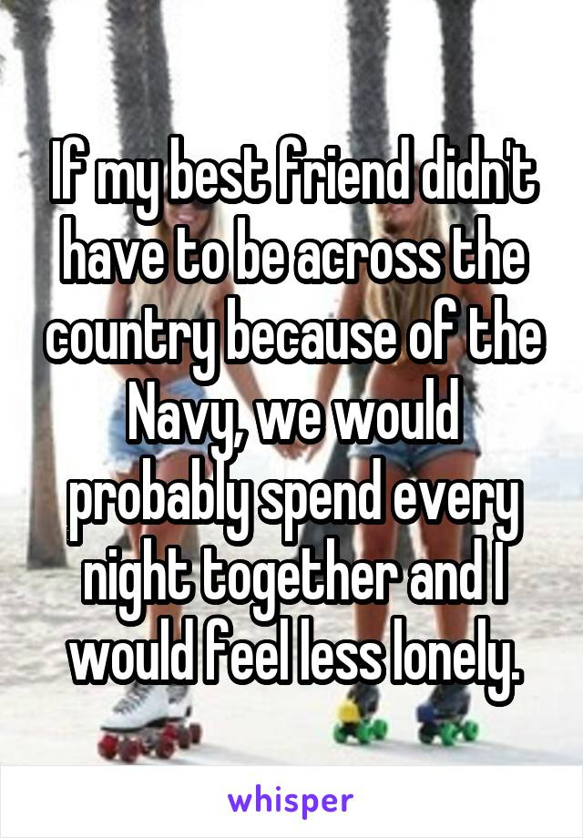 If my best friend didn't have to be across the country because of the Navy, we would probably spend every night together and I would feel less lonely.