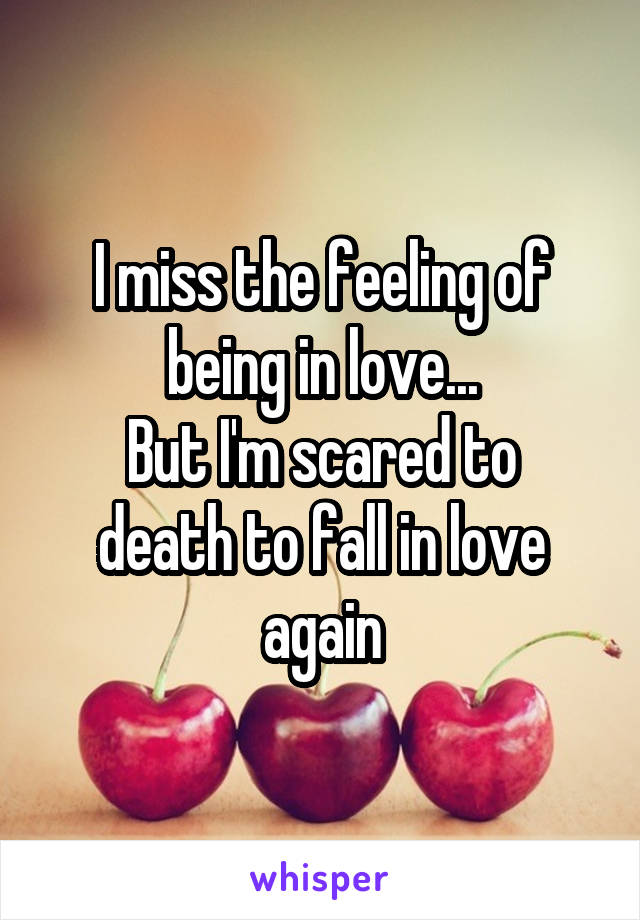 I miss the feeling of being in love... But I'm scared to death to fall in love again