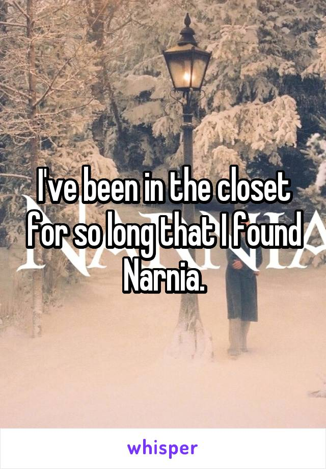 I've been in the closet for so long that I found Narnia.