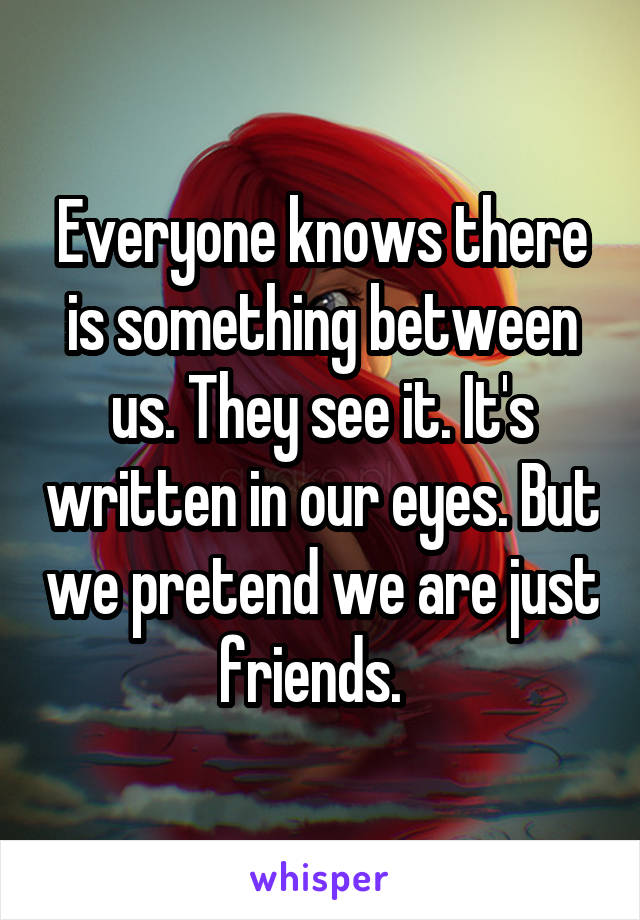 Everyone knows there is something between us. They see it. It's written in our eyes. But we pretend we are just friends.