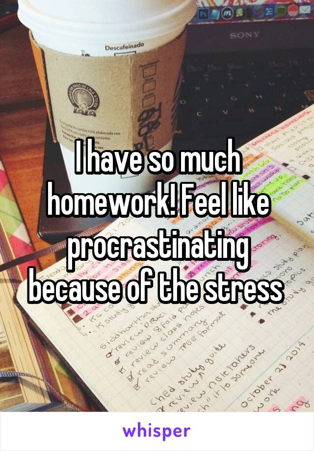 I have so much homework! Feel like procrastinating because of the stress