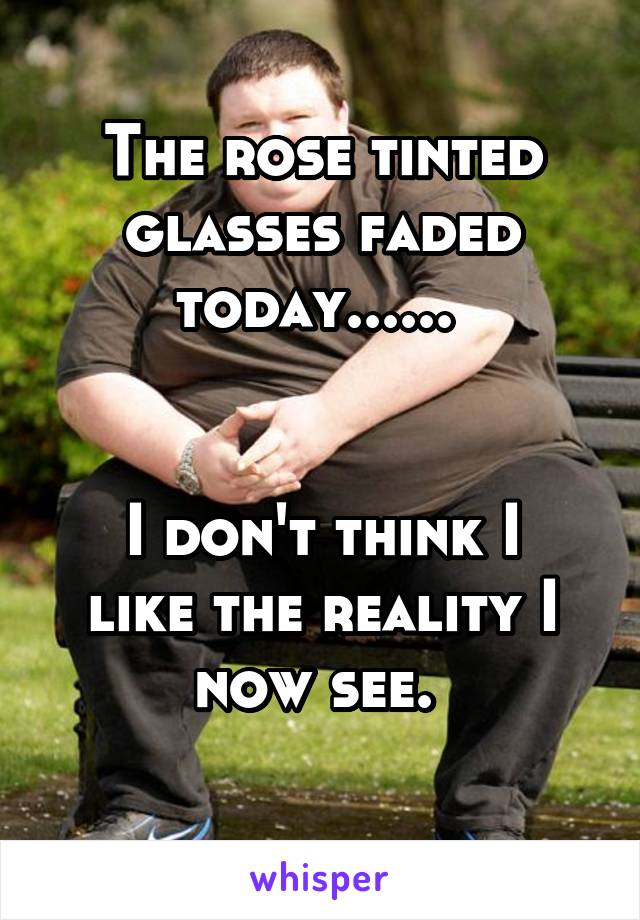 The rose tinted glasses faded today......    I don't think I like the reality I now see.