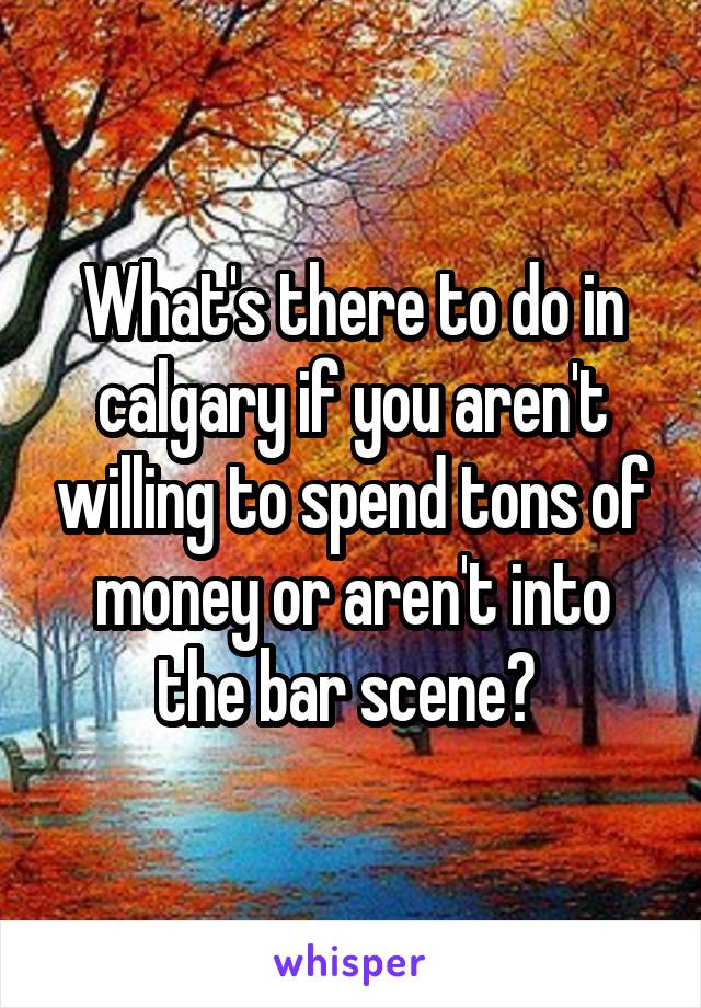 What's there to do in calgary if you aren't willing to spend tons of money or aren't into the bar scene?