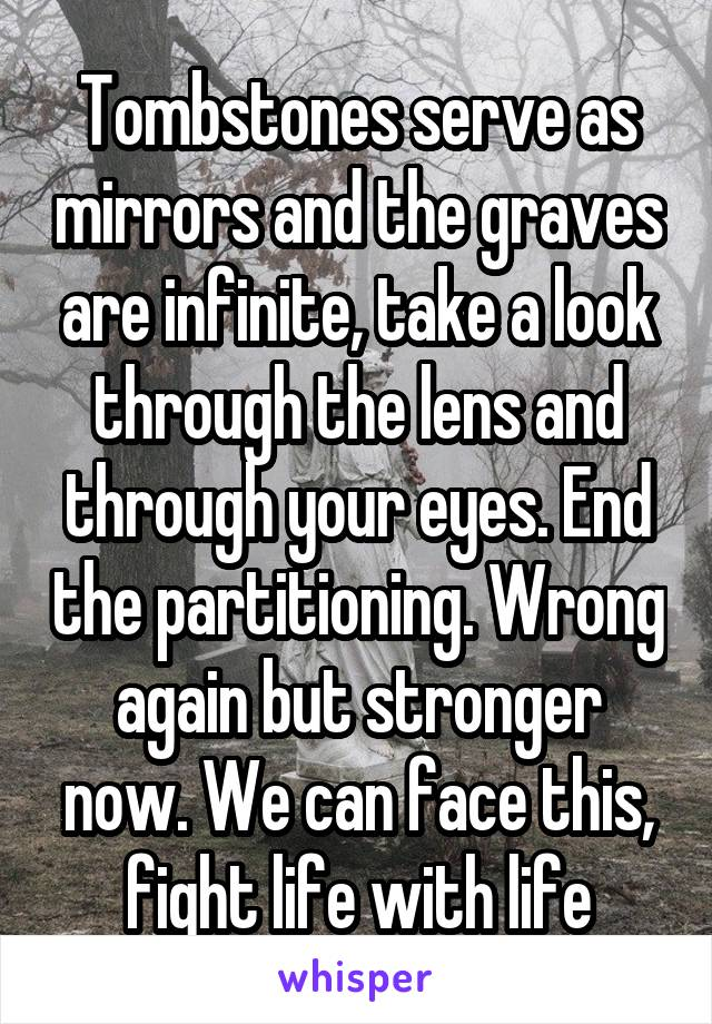 Tombstones serve as mirrors and the graves are infinite, take a look through the lens and through your eyes. End the partitioning. Wrong again but stronger now. We can face this, fight life with life
