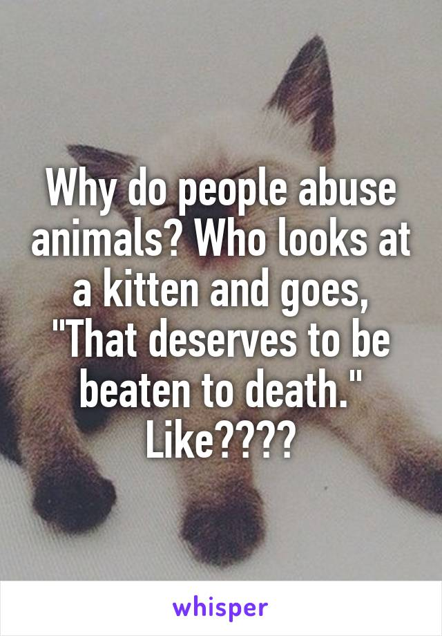 "Why do people abuse animals? Who looks at a kitten and goes, ""That deserves to be beaten to death."" Like????"