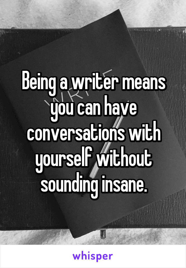 Being a writer means you can have conversations with yourself without sounding insane.