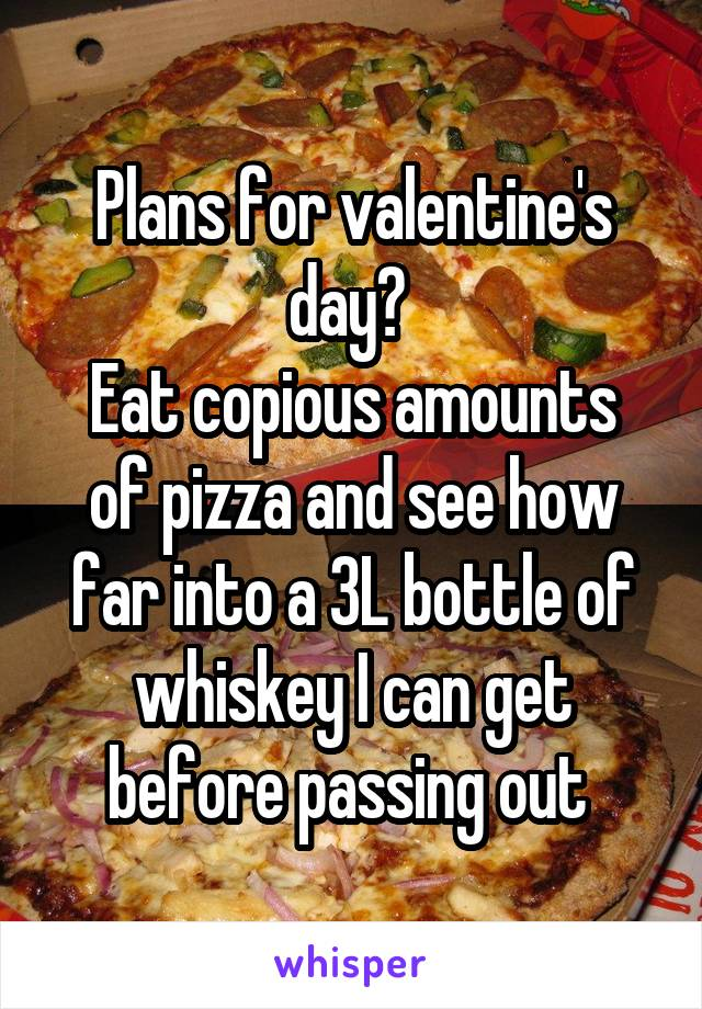 Plans for valentine's day?  Eat copious amounts of pizza and see how far into a 3L bottle of whiskey I can get before passing out