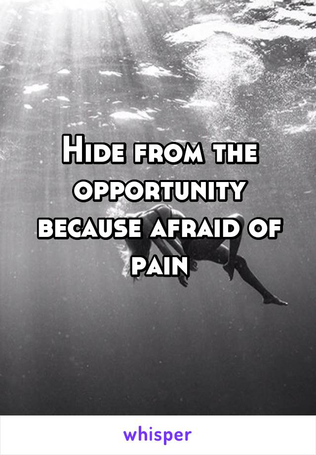 Hide from the opportunity because afraid of pain