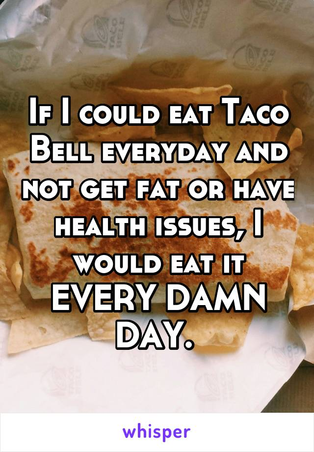 If I could eat Taco Bell everyday and not get fat or have health issues, I would eat it EVERY DAMN DAY.