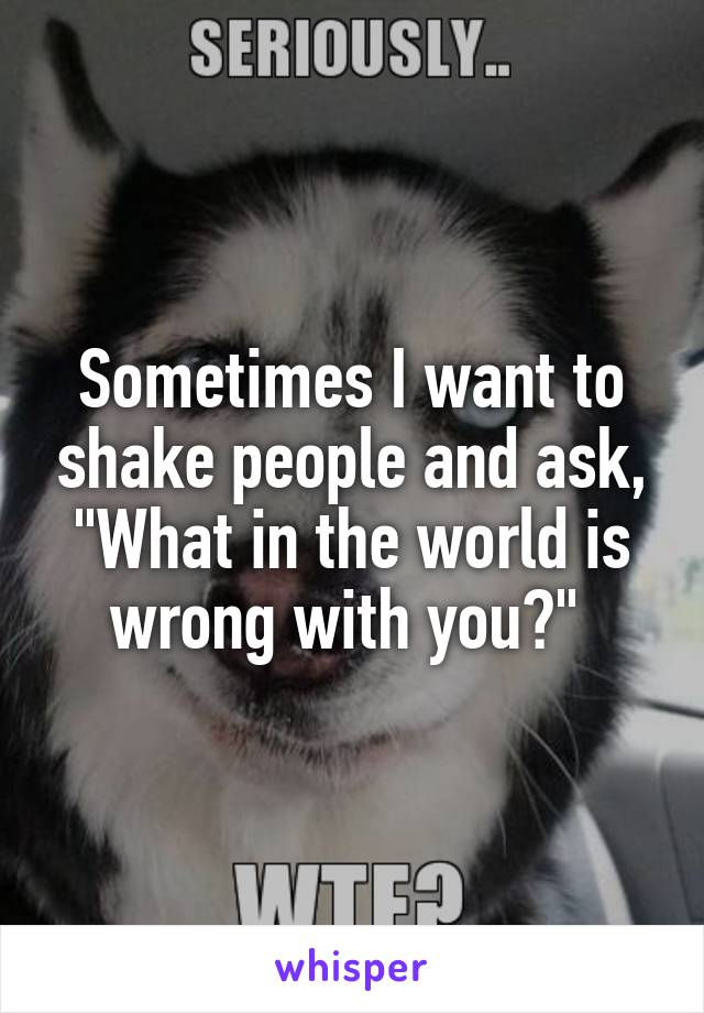 """Sometimes I want to shake people and ask, """"What in the world is wrong with you?"""""""