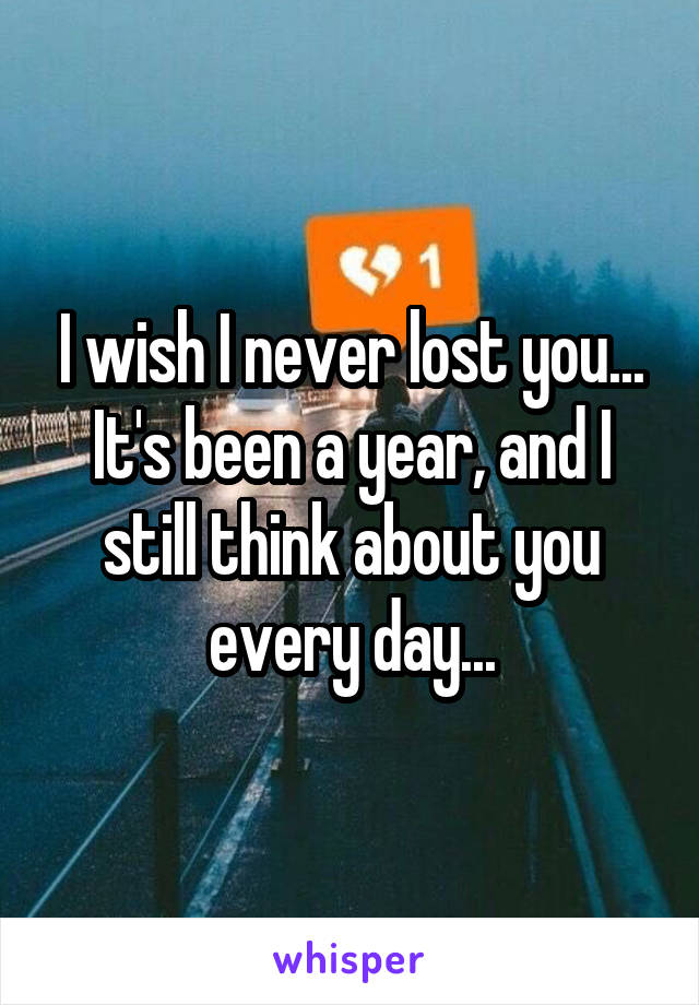 I wish I never lost you... It's been a year, and I still think about you every day...