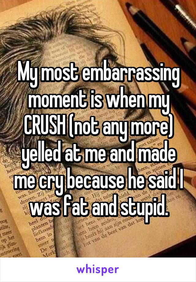 My most embarrassing moment is when my CRUSH (not any more) yelled at me and made me cry because he said I was fat and stupid.