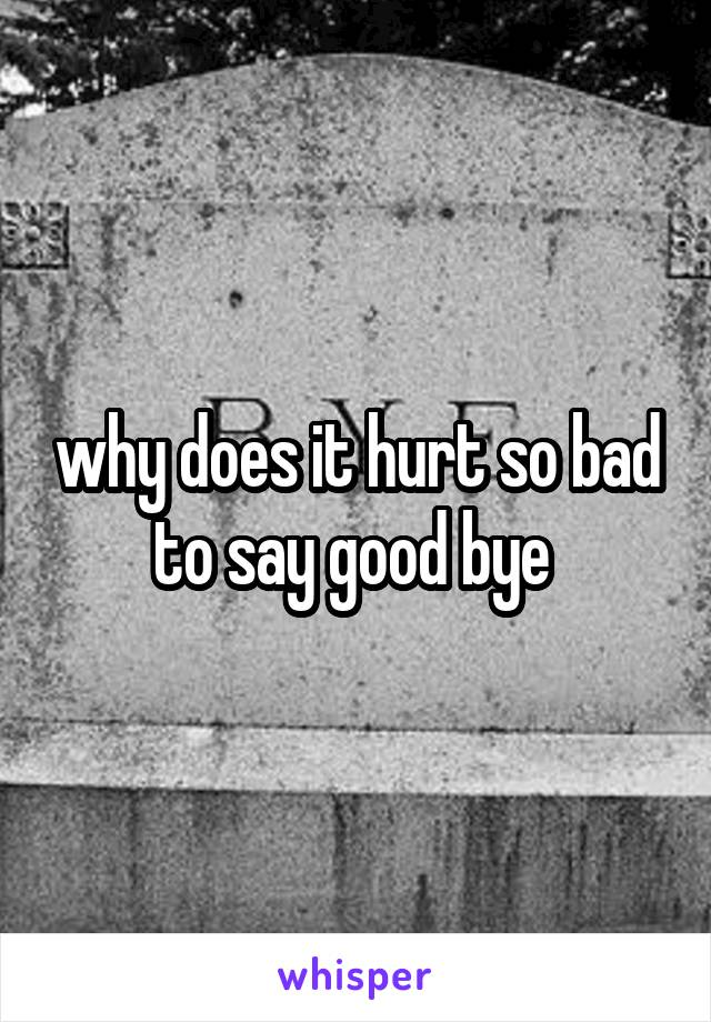 why does it hurt so bad to say good bye