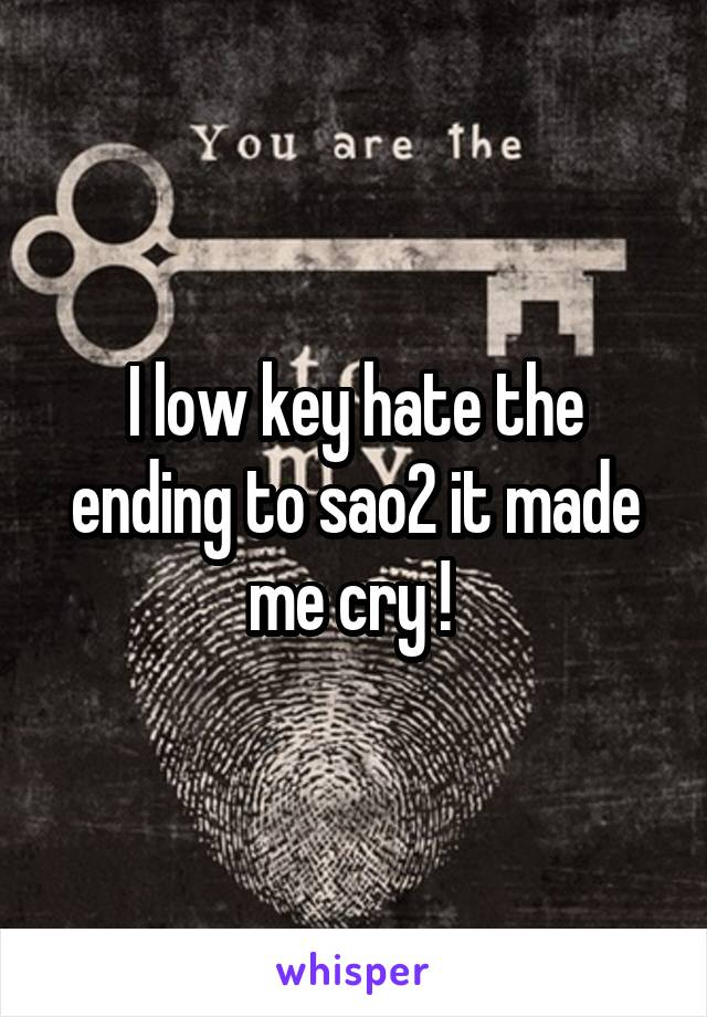 I low key hate the ending to sao2 it made me cry !
