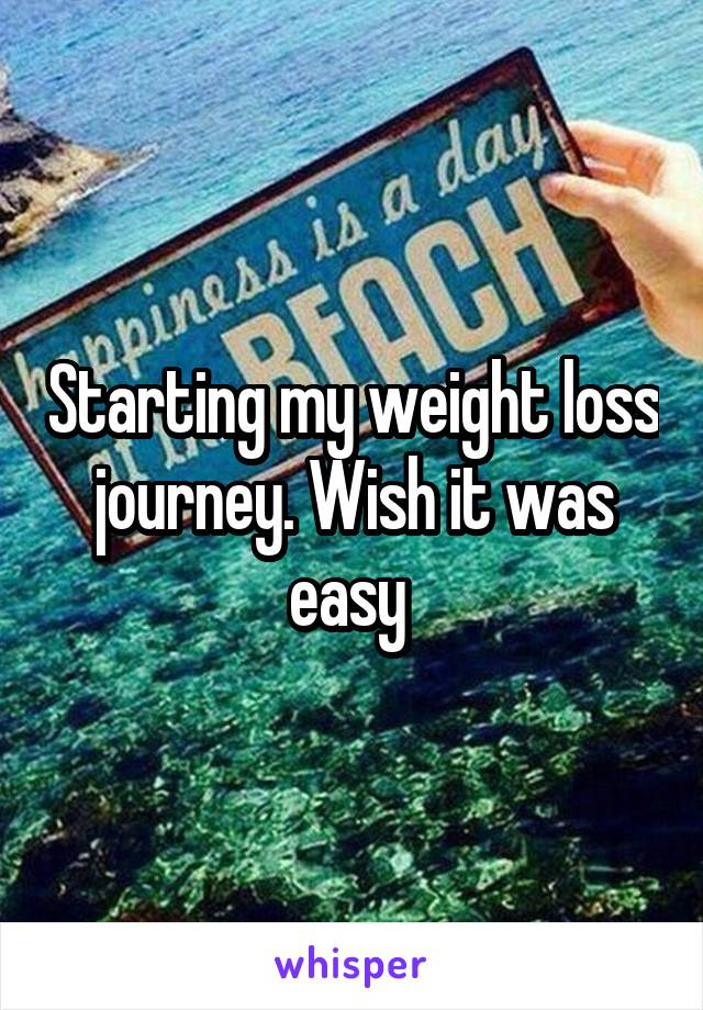 Starting my weight loss journey. Wish it was easy