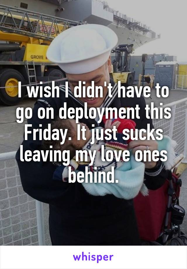 I wish I didn't have to go on deployment this Friday. It just sucks leaving my love ones behind.