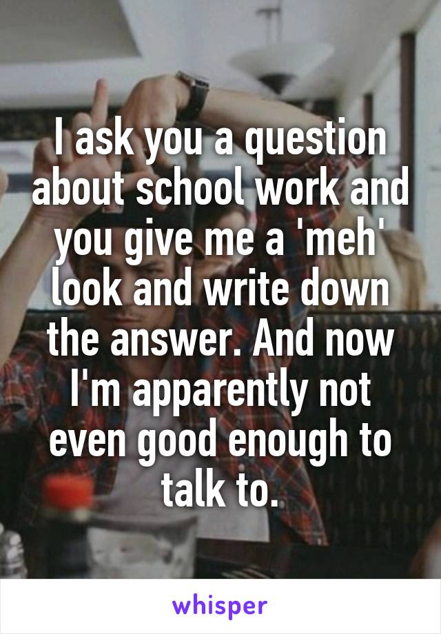 I ask you a question about school work and you give me a 'meh' look and write down the answer. And now I'm apparently not even good enough to talk to.