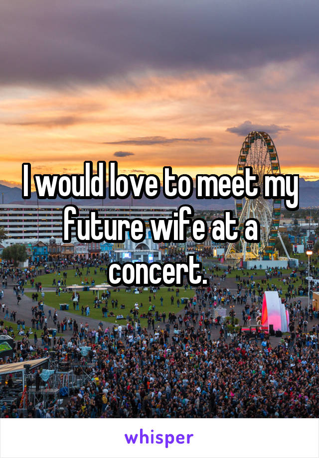 I would love to meet my future wife at a concert.