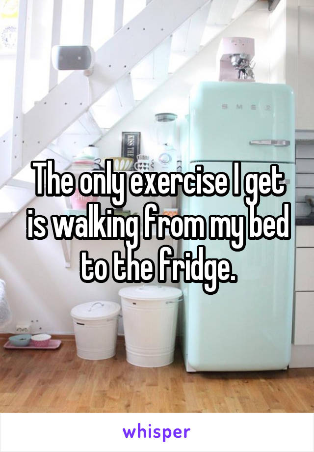 The only exercise I get is walking from my bed to the fridge.