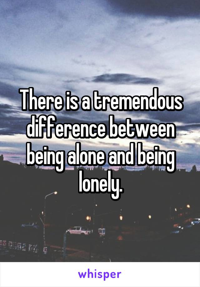 There is a tremendous difference between being alone and being lonely.