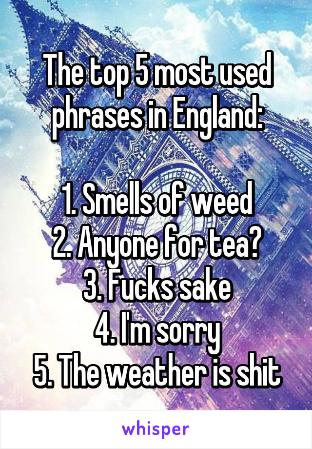 The top 5 most used phrases in England:  1. Smells of weed 2. Anyone for tea? 3. Fucks sake 4. I'm sorry 5. The weather is shit