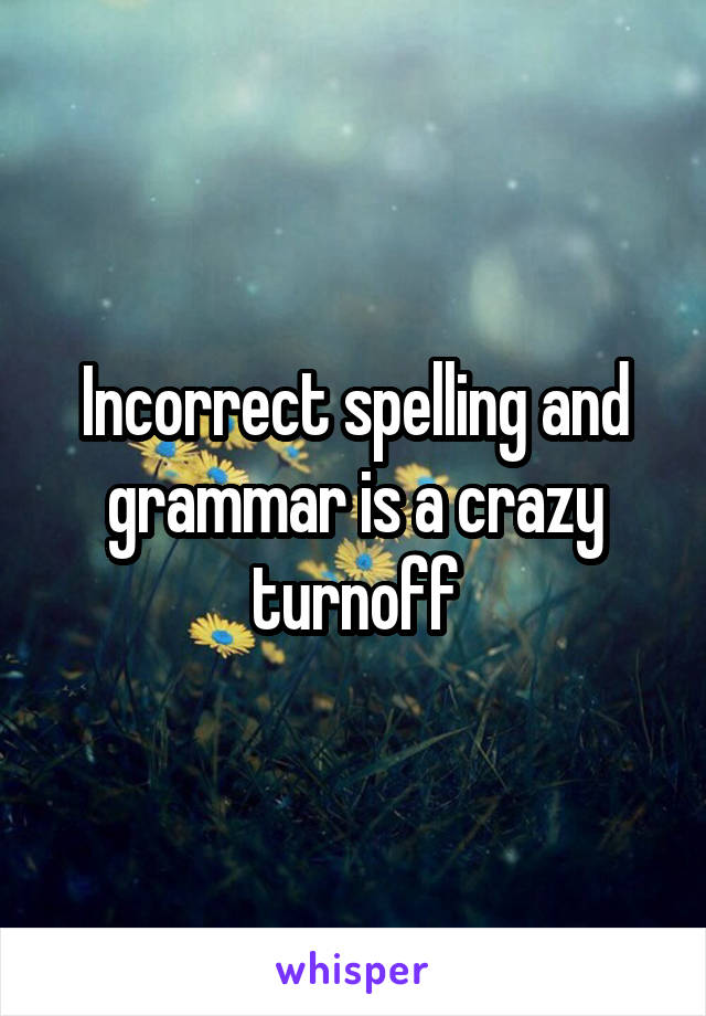 Incorrect spelling and grammar is a crazy turnoff