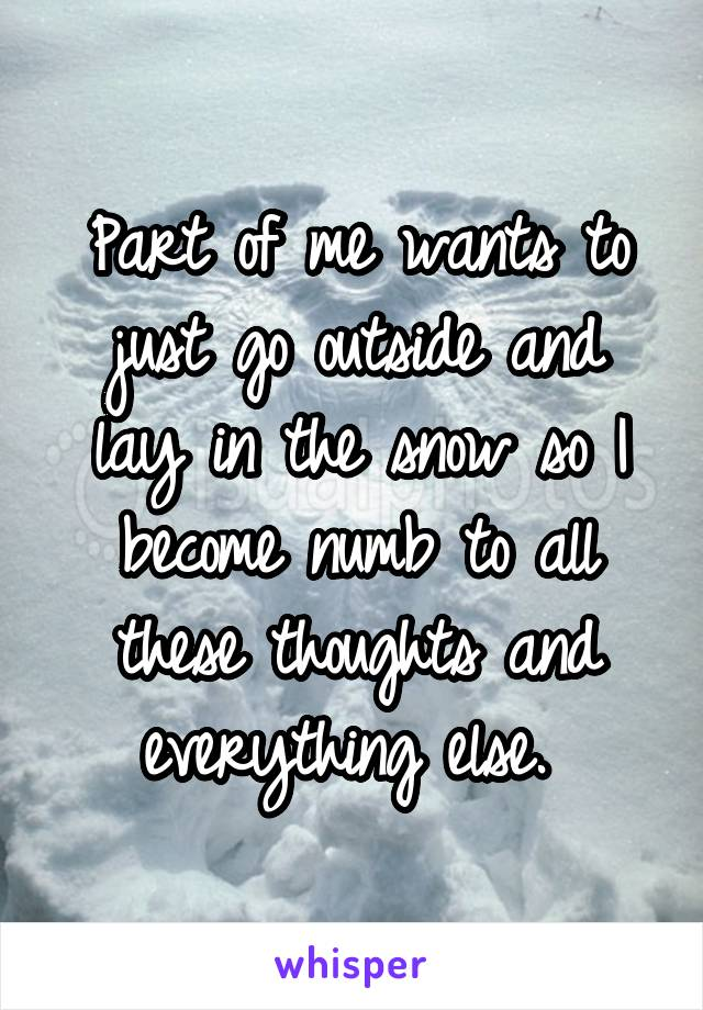 Part of me wants to just go outside and lay in the snow so I become numb to all these thoughts and everything else.