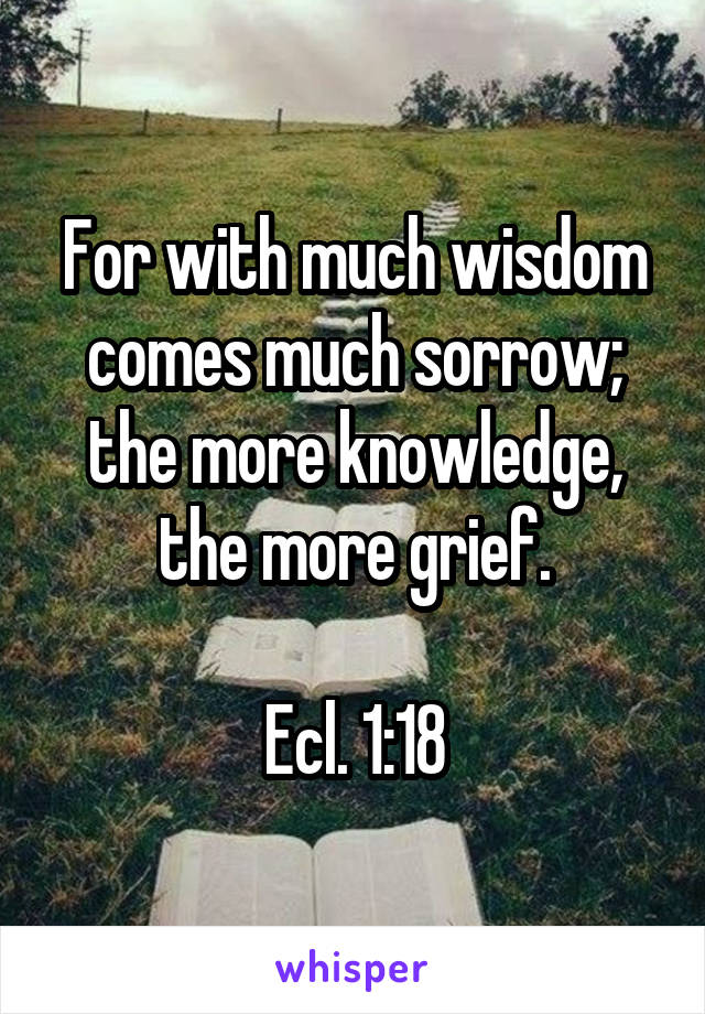 For with much wisdom comes much sorrow; the more knowledge, the more grief.  Ecl. 1:18