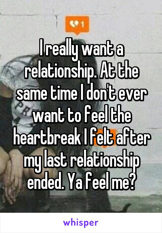 I really want a relationship. At the same time I don't ever want to feel the heartbreak I felt after my last relationship ended. Ya feel me?