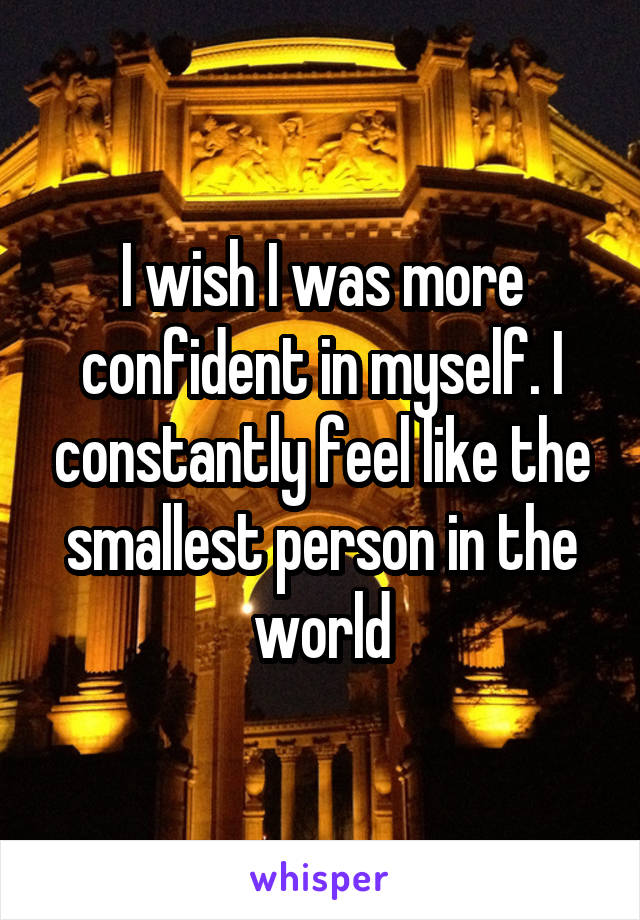 I wish I was more confident in myself. I constantly feel like the smallest person in the world
