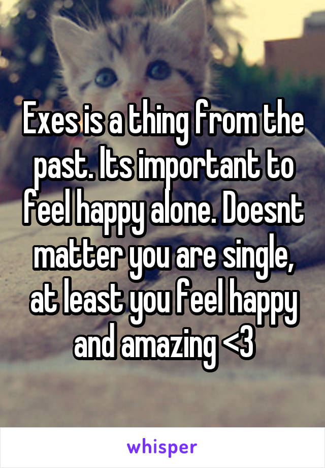 Exes is a thing from the past. Its important to feel happy alone. Doesnt matter you are single, at least you feel happy and amazing <3