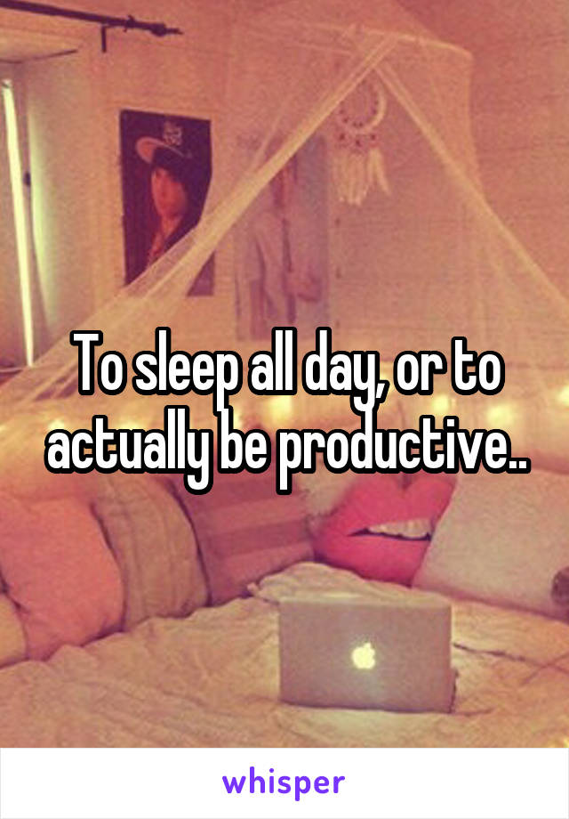 To sleep all day, or to actually be productive..