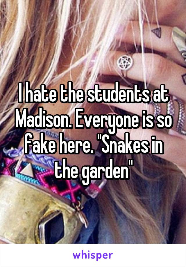 "I hate the students at Madison. Everyone is so fake here. ""Snakes in the garden"""