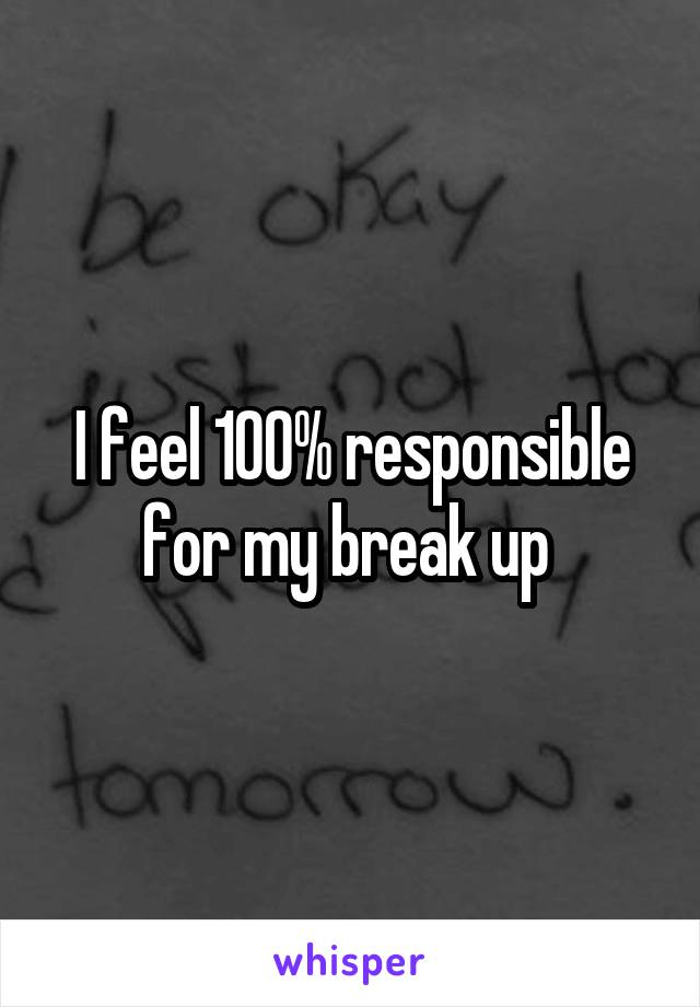 I feel 100% responsible for my break up