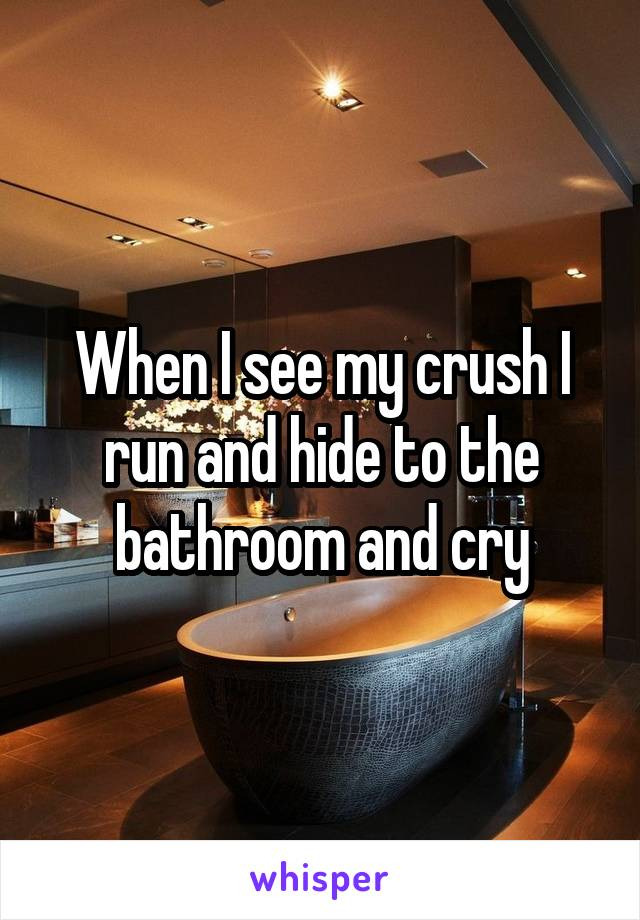 When I see my crush I run and hide to the bathroom and cry