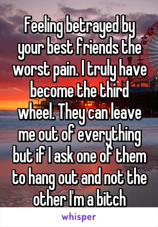 Feeling betrayed by your best friends the worst pain. I truly have become the third wheel. They can leave me out of everything but if I ask one of them to hang out and not the other I'm a bitch